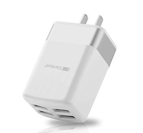 Mobile phone Fast Charger 2.4A 4-Port USB Wall Plug and Smart Technology Travel Adapter for Apple iPad, iPhone 7 / 6s / Plus / 6 / 5 / SE, iPod, Samsung Galaxy S8 S7 S6 Edge, Note & more - White by Earldom
