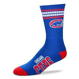 For Bare Feet Chicago Cubs 4 Stripe Crew Socks Size Large Men's 10-13