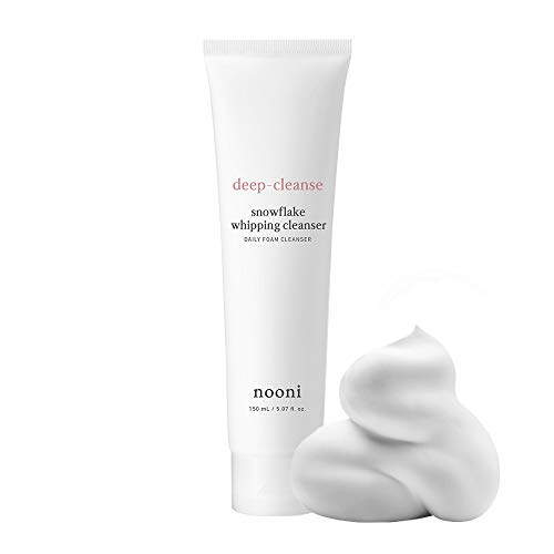 NOONI Snowflake Whipping Cleanser 150mL #for all skin types 5.07 Ounces, Foaming facial cleanser, Magically silky cream, Foamy marshmallowy, Daily face wash cleanser, Face wash cream cleanser,