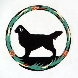(Sweeney Ridge Hand Painted Dog Christmas Ornament - Flat Coated Retriever)