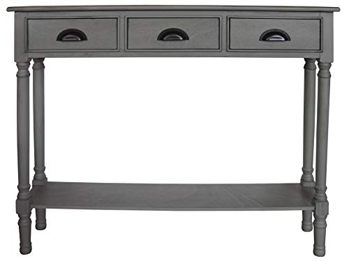 Urbanest Burlington Console Table with 3 Drawers, 32-inch Tall, 39 1/2-inch Wide, 9-inch Deep, Vendee Gray