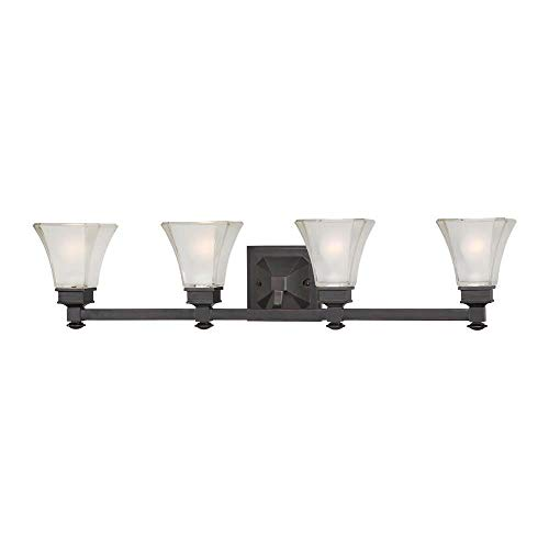Designers Fountain 6664-BBR Canterbury - Four Light Bath Fixture, Biscayne Bronze Finish with Satin Etched Glass ()