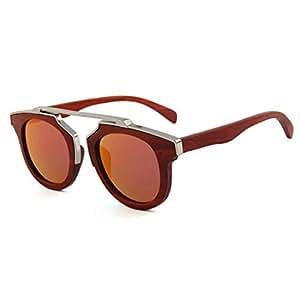 LUKEEXIN Women's Handmade Metal Decoration Wooden Polarized Sunglasses UV Protection Driving Sunglasses Beach Sunglasses (Color : Red)