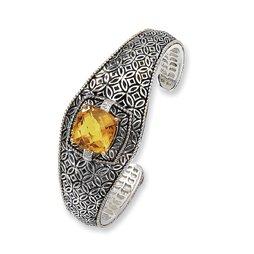 Argent Sterling diamant brut jaune 14 carats avec Citrine Bracelet JewelryWeb