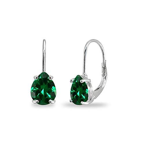 Sterling Silver Simulated Emerald 7x5mm Teardrop Dainty Leverback Earrings for Women Teen Girls ()