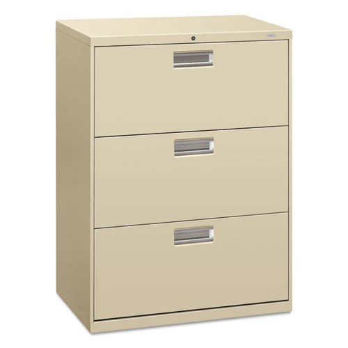 - HON 673LL 600 Series 30-Inch by 19-1/4-Inch 3-Drawer Lateral File, Putty