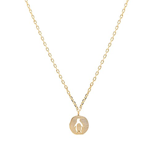 chelseachicNYC Handmade Tiny Jewel Brushed Metal Penguin Medal Necklace Gold