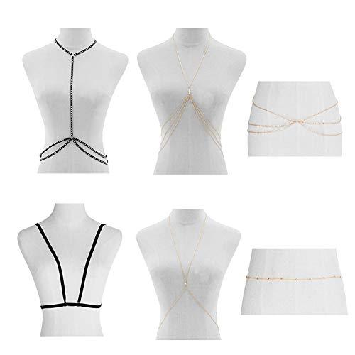 KissYan Golden Body Belly Waist Chains Strappy Crossover Harness Cage Bra Bikini Beach Body Necklace 6PCS