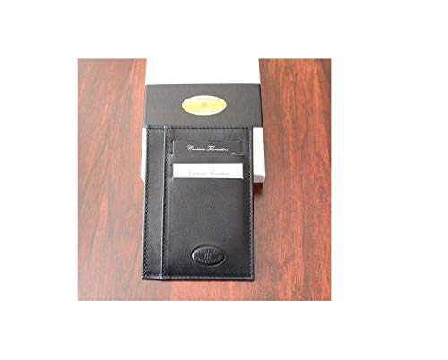 Cuoieria Fiorentina Slim Sleeve Black Wallet Premium Calf Leather Made in Italy - Holds 10+Cards +Cash - Slim Profile Reduces Wallet Bulk
