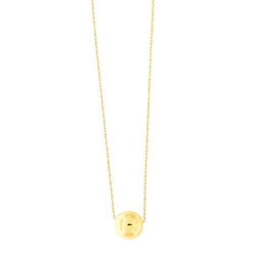 14k Yellow Gold Rope Chain 9mm Polished Ball Bead Pendant Necklace, 18