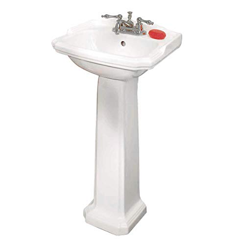 (Small Pedestal Sink White Vitreous China Scratch/Stain Resistant Open Back Easy Clean And Install Renovator's Supply)