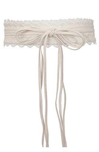 (eVogues Plus size Faux Leather Obi Waistband Sash Belt Lace Detail Off White - One Size Plus)
