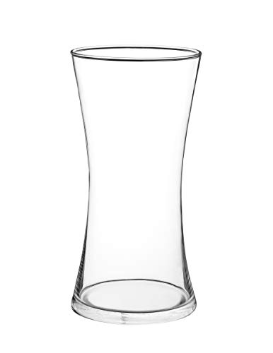 (Flowersea Curvaceous Clear Glass Vase, Floral Bud Vase, 9.85'' Inch Height Centerpiece, Miranda Stylish Decorative Centerpiece Modern Clear Curve Vase (Waist, Medium))