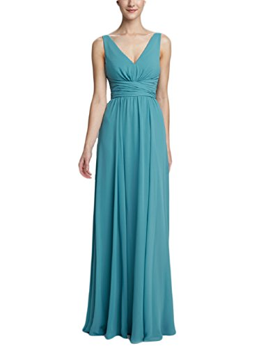 PromCC Womens V-neck Empire Evening Dress 2016 Long Bridesmaid Dresses BD36 Peacock Blue 4