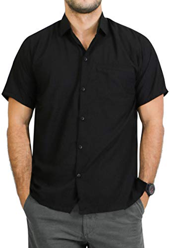 LA LEELA Rayon Short Sleeve Hawaiian Point Collar Shirt Black 3XL |Chest 60