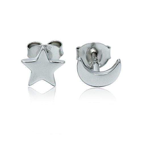 Hypoallergenic Moon Star Silver Stud Earrings Silver Crescent Moon and Star Ear Stud Earrings for Women (Moon Star)