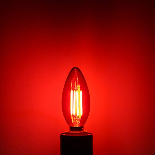 Red LED Light Bulb, DORESshop, C35/B11 E12 Candelabra Light Bulbs, Vintage Filament Led Light Bulb, 4.5W Equal to 40W Incandescent Bulb, 400LM, Tiny Light Bulb for Party, Bar, 6 Pack