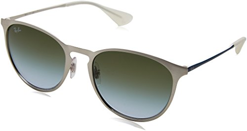 Ray-Ban Erika Metal Round Sunglasses, Brusched Silver, 54 - Ray Clubmaster Ban 54mm