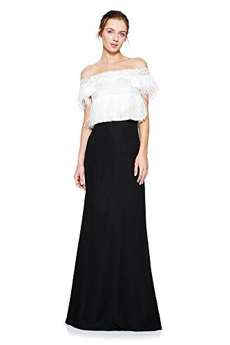 Tadashi Shoji Women's Sheer Neck Feather Top Gown, Black/Ivory 8