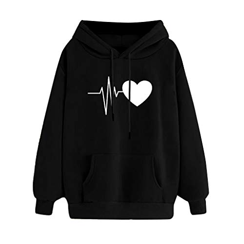 Hoodie for Women, Thanksgiving Stylish Cute Heartbeat Print Long Sleeve Casual Hooded Pullover Top Blouse for Girls (XL, Black 01)