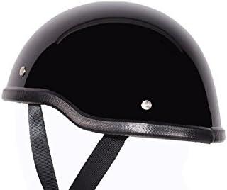Low Profile Novelty Harley Chopper Motorcycle Half Helmet Skull Cap Shiny Black XL 23 3//4-24 1//4