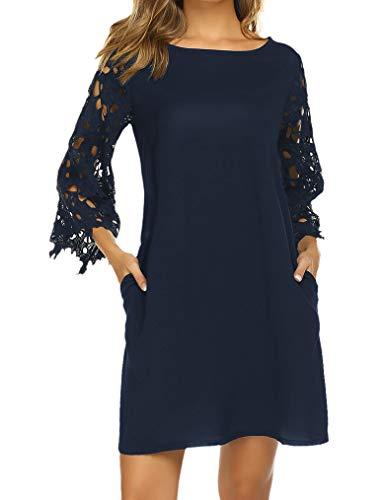 (Womens Chiffon Bell Sleeve Dress, Shift Mini Short Lace Dress L Navy Blue)
