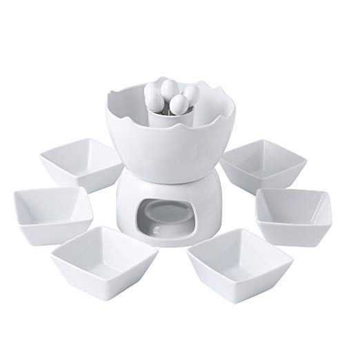 - Malacasa FAVOR-003 Two-layer Ceramic Porcelain Tealight Candle Cheese Butter Chocolate Fondue Set with 6 Dipping Bowls 6 Forks, 9 x 7 x 6 inches, Ivory White
