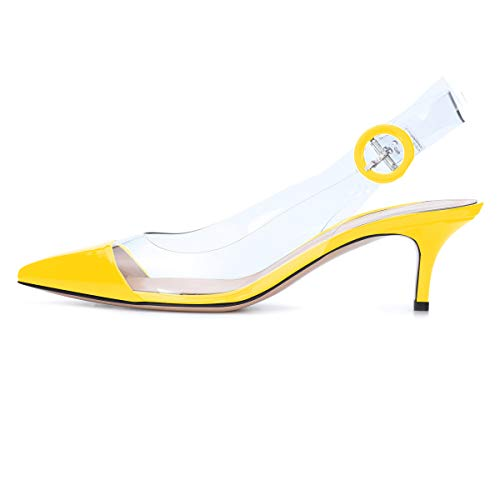 (Sammitop Women's Pointed Toe Pumps Low Heel Shoes Slingback Patent Leather Pumps Yellow US9)
