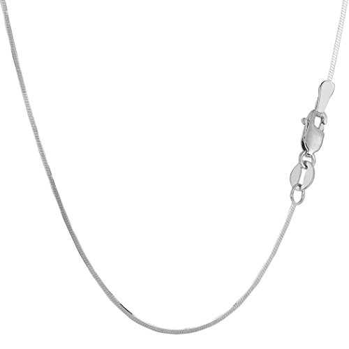 Octagonal Snake Chain - Sterling Silver Rhodium Plated Octagonal Snake Chain Necklace, 1.3mm, 18