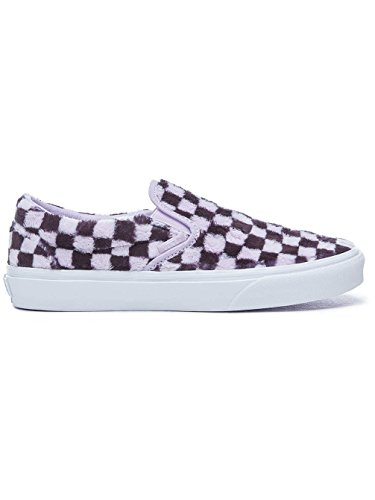 Chaussures Slip on furry Checkerboard Vans Violet blanc noir Classic v4wdqppa