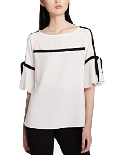(Calvin Klein Piped-Trim Top, Soft White, S)