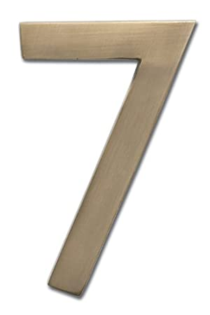 Architectural Mailboxes 3585AB-7 Brass 5-Inch Floating House Number 7, Antique Brass