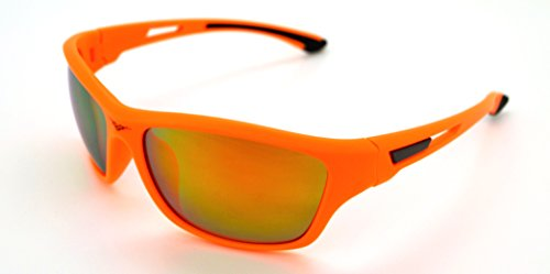 Vertx léger durable pour homme et pour femme Athletic Sport Lunettes de soleil de cyclisme Course à Pied W/étui microfibre gratuit Orange Frame - Orange Lens