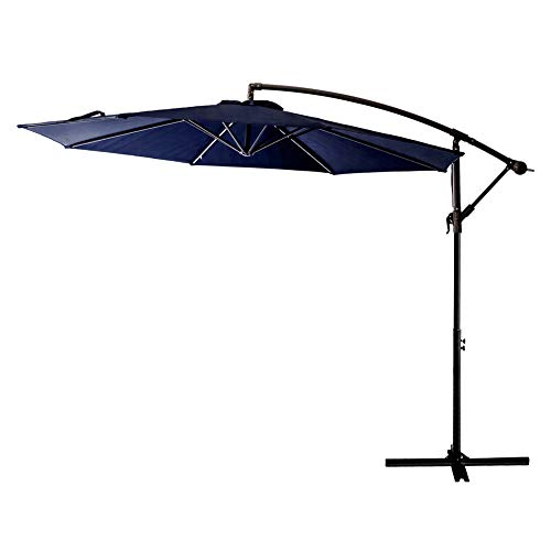 FLAME&SHADE 10′ Offset Outdoor Patio Umbrella Hanging Cantilever Market Style for Large Outside Table Deck or Backyard, Navy Blue
