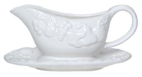 Antique White Gravy (Gibson Overseas Fruitful Gravy Boat with Stand)