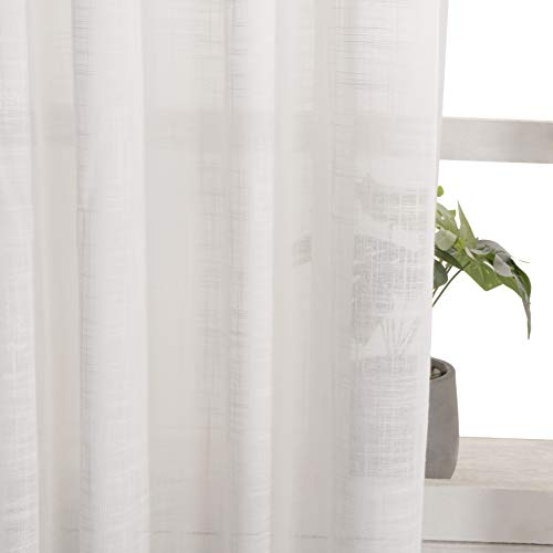 VISIONTEX White Sheer Curtains Faux Linen Rod Pocket Window Curtains for Living Room 54 x 84 Inch Set of 2 Curtain - Rod Curtain Window Pocket