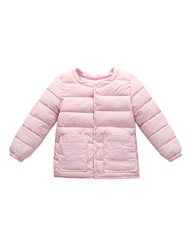 Casual Outwear Pink Child Round Neck for Warm Slim Sleeve Baby Coats fit Lightweight Long Jacket Boys BESBOMIG Girls Cotton 0YnTUwqYd