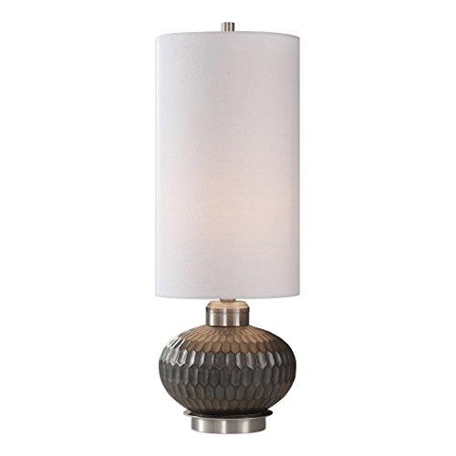 Slim Tall Shade Round Honeycomb Table Lamp | Black Ceramic Mid Century ()