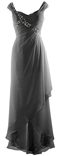 Formal Gray Neck High of Gown Mother V Elegant Low Chiffon Maxi Dress MACloth Bride EqwOPtn