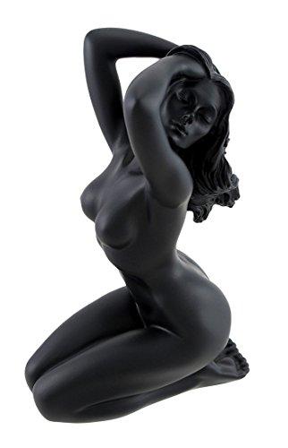 Veronese Design Glossy Black Female Nude Kneeling Hands in Hair Statue Facing Left ()