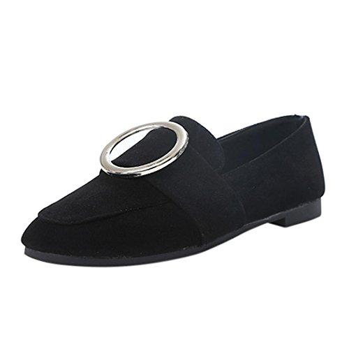 Inkach Dames Platte Schoenen - Ladise Casual Lage Hak Slip Op Suède Schoenen Comfortabele Buckle Schoenen Zwart
