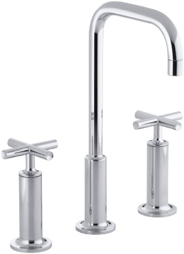 (KOHLER K-14408-3-CP Purist Widespread Lavatory Goose Neck Faucet with Cross Handles, Polished Chrome)