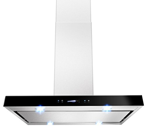"AKDY 36"" Stainless Steel AZ-627i-PS3-90 Flat Grease Filter Island Mount Range Hood. by AKDY"