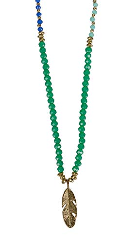 (SPUNKYsoul Long Feather Beaded Blue, Teal and Gold Necklace for)
