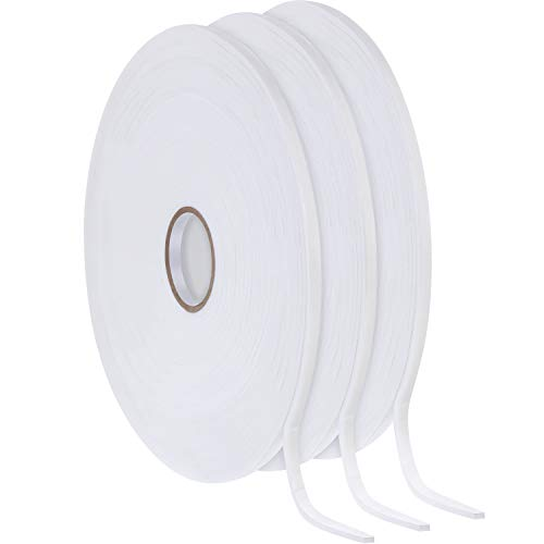(3 Rolls Foam Mounting Tape White PE Double Sided Foam Tape Foam Adhesive Tape (1/4 Inch Wide by 32.8 Feet Long Each Roll))