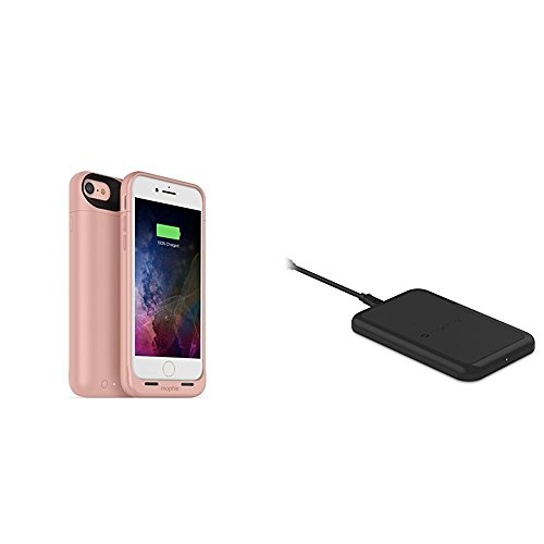 mophie juice pack wireless  - Charge Force Wireless Power - Wireless Charging Protective Battery Pack Case for iPhone 7 – Rose Gold plus mophie Charge Force Wireless Charging Base bundle