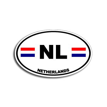 Nl netherlands country auto oval flag window bumper sticker