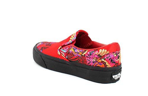 blk On Satin Festival Sneaker Vans Donna Slip Satin Classic festival Rosso Red wqzxECzPn1