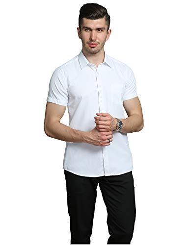 BINJUEMENS Mens Short Sleeve Dress Shirts Slim Fit Button Down Solid Casual Shirt (White, M/Chest 44.1