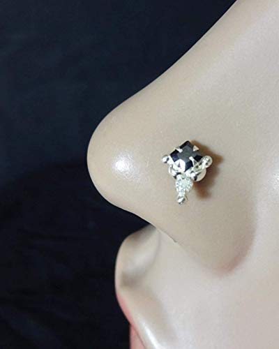 Onyx Nose Stud,925 Sterling Silver Nose Stud,White Silver Nose Stud,22g Nose Bone,14K Yellow Gold Nose Stud,Solitaire Nose Piercing,Sapphire Nose Bone,Cubic Zirconia,Silver Nose Piercing(TEJ718)